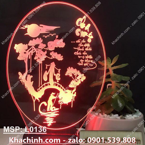 Đèn Khắc chữ thư pháp Cha Mẹ ( Đèn Led Khắc 3D ) khachinh.com