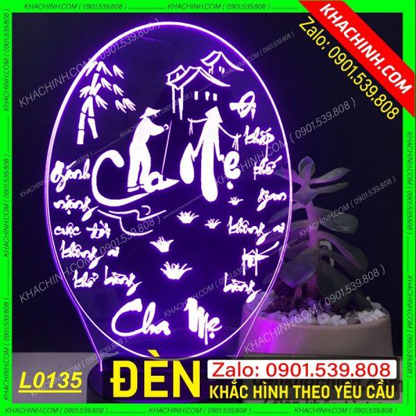 Đèn led khắc tranh thư pháp cha mẹ ( Đèn Ngủ Khắc Ảnh ) khachinh.com Tháng Sáu 2021