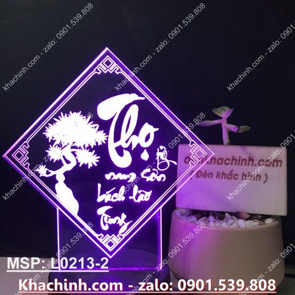 Đèn tranh thư pháp chữ THỌ ( Đèn Ngủ Khắc Hình Theo Yêu Cầu ) khachinh.com