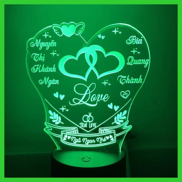 Đèn hình trái tim khắc chữ khachinh.com