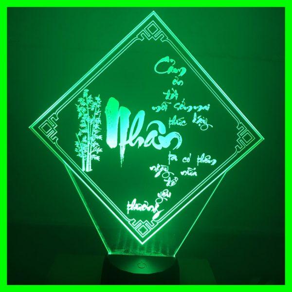 Đèn khắc hình chữ Nhẫn Cám ơn đời mỗi sớm mai thức giấc Ta có thêm ngày nữa để yêu thương khachinh.com