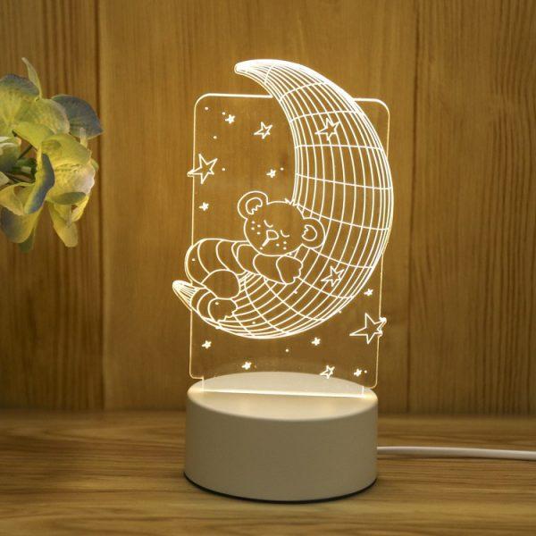 Đèn ngủ khắc hình Gấu ôm Mặt trăng khachinh.com