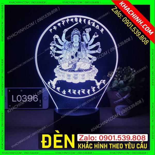 Đèn thờ hình Phật Bà nghìn tay - nhiều tay mẫu L0396 khachinh.com
