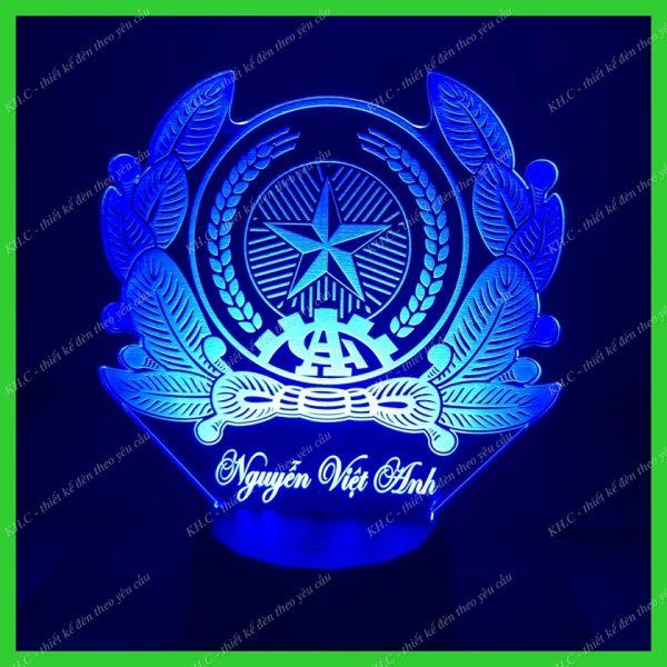 Đèn khắc hình logo Công An Nhân Dân CAND khachinh.com