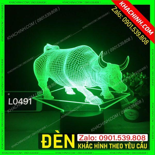 Đèn led 3D hình con trâu. Đèn ngủ khắc hình theo yêu cầu. khachinh.com L0491