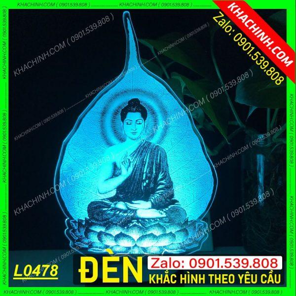 Đèn thờ tượng Phật trên lá bồ đề, Đèn thờ khắc  tượng Phật ngự trên lá bồ đề, khắc hình theo yêu cầu khachinh.com Tháng Sáu 2021