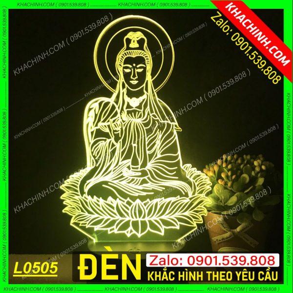 Đèn thờ khắc hình Phật Quan Âm khachinh.com