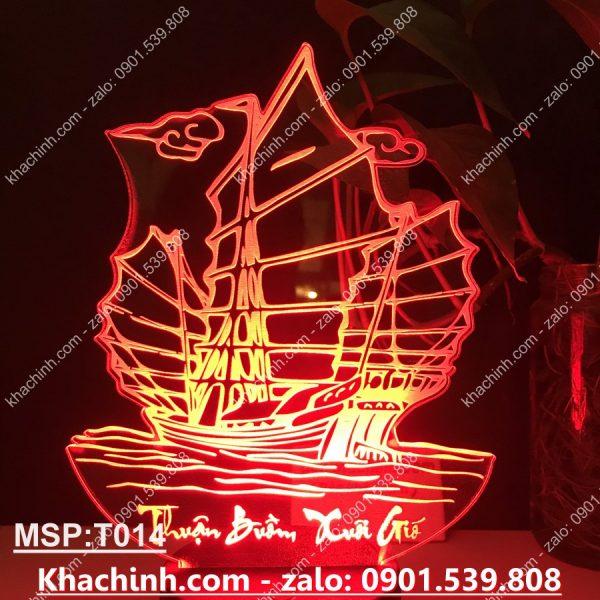 Đèn khắc thuyền thuận buồm xuôi gió, chúc mừng năm mới, khắc đèn theo yêu cầu khachinh.com