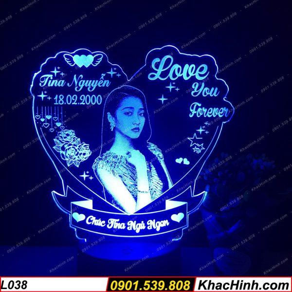 Đèn ngủ khắc hình theo yêu cầu, đèn khắc chân dung, quà tặng sinh nhật, quà cưới khachinh.com