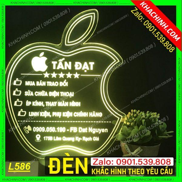 Đèn khắc Logo Thương Hiệu, Đèn khắc bảng hiệu Iphone, thiết kế và khắc hình theo yêu cầu khachinh.com Tháng Sáu 2021