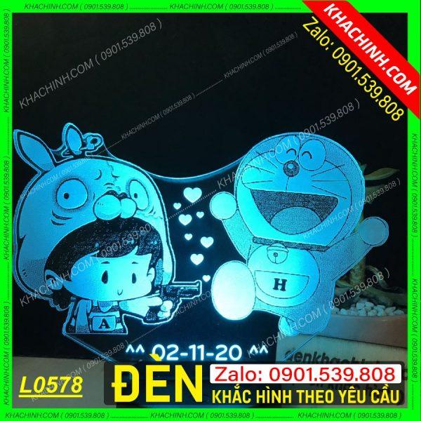 Đèn ngủ khắc hình Chibi - Doremon, đèn ngủ khắc hình theo yêu cầu, quà tặng sinh nhật khachinh.com Tháng Sáu 2021