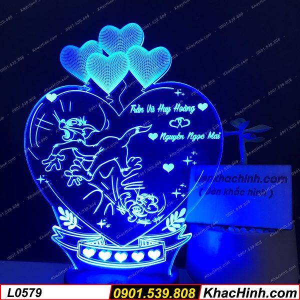 Đèn ngủ khắc hình Tom & Jerry, đèn ngủ khắc hình theo yêu cầu, quà tặng độc đáo khachinh.com