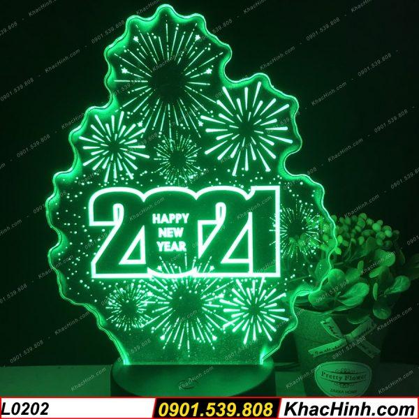 Đèn Happy New Year 2021, Chúc mừng năm mới, đèn led 3D khắc hình theo yêu cầu khachinh.com
