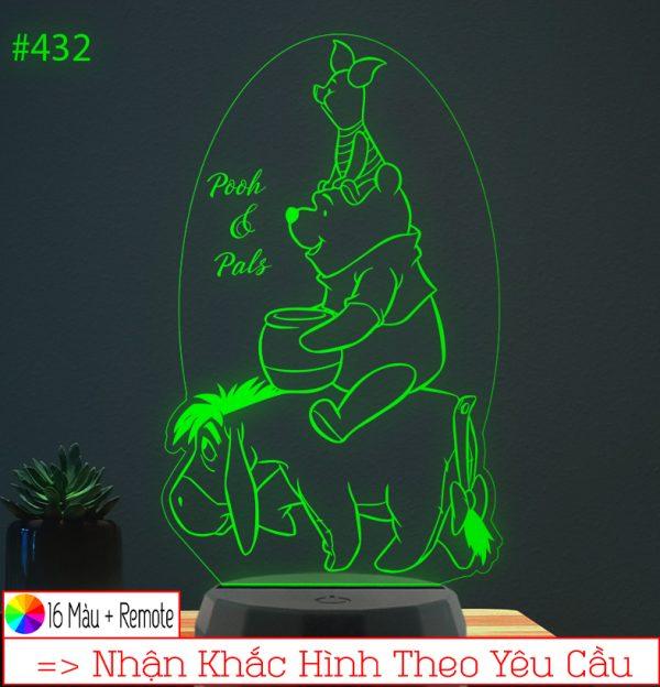 Đèn ngủ hình Gấu Pooh Khắc hình đèn ngủ led theo yêu cầu khachinh.com