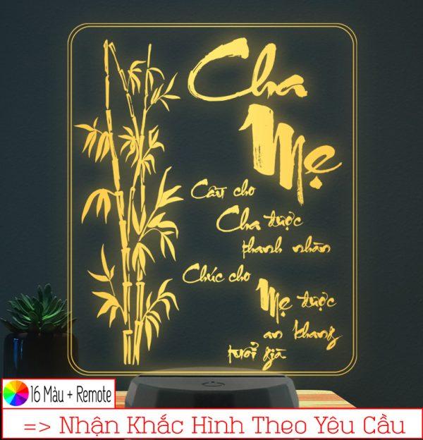 Đèn ngủ hình Thư Pháp Cha Mẹ - khắc hình đèn ngủ led theo yêu cầu khachinh.com