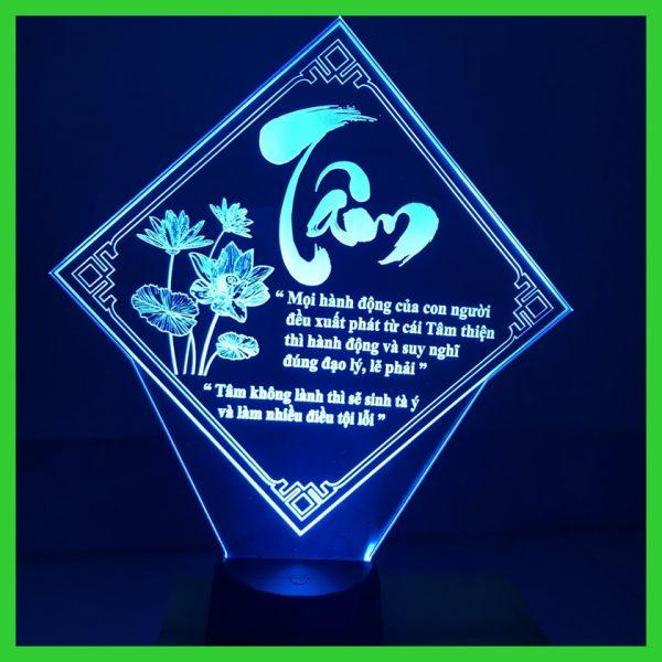 Đèn khắc hình chữ Tâm, đèn ngủ led thư pháp chữ Tâm khachinh.com