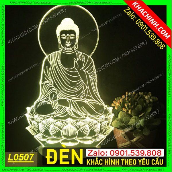 Đèn thờ khắc hình Phật khachinh.com