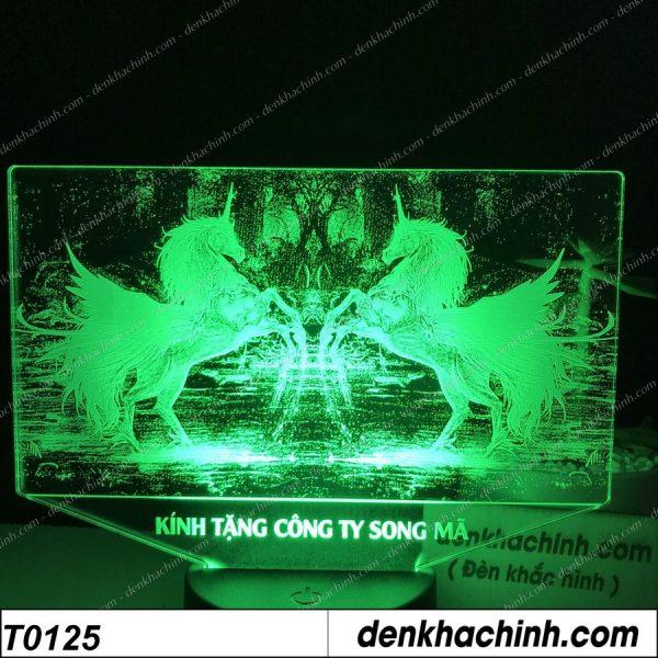 Đèn khắc hình SONG MÃ, Đèn khắc hình con ngựa, thiết kế và khắc hình theo yêu cầu khachinh.com
