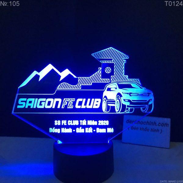 Đèn led khắc hình Logo Xe thương hiệu Sài Gòn FE CLUB, Thiết kế và khắc hình theo yêu cầu khachinh.com