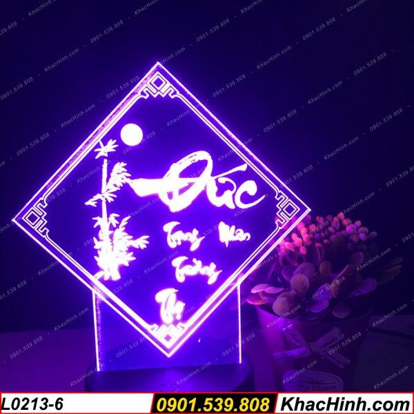 Đèn tranh thư pháp chữ Đức (Đức trọng nhân trường thọ), đèn thư pháp khắc hình theo yêu cầu, quà tặng độc đáo, đèn để bàn - đèn trang trí khachinh.com